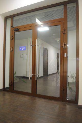 Огнеупорные двери в профиле коричневого цвета